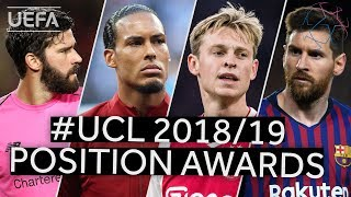 ALISSON, VAN DIJK, DE JONG, MESSI: Positional Award Winners for the 2018/19 UEFA Champions League