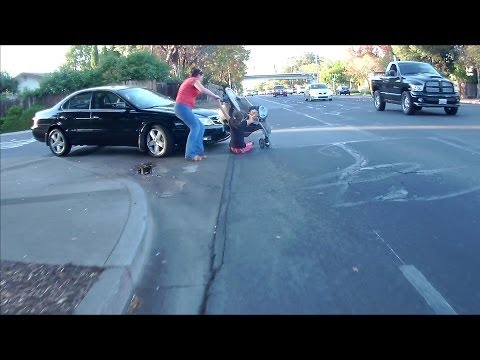 Girl Hit by Car in the Crosswalk by a Man on the Phone 4VHF896