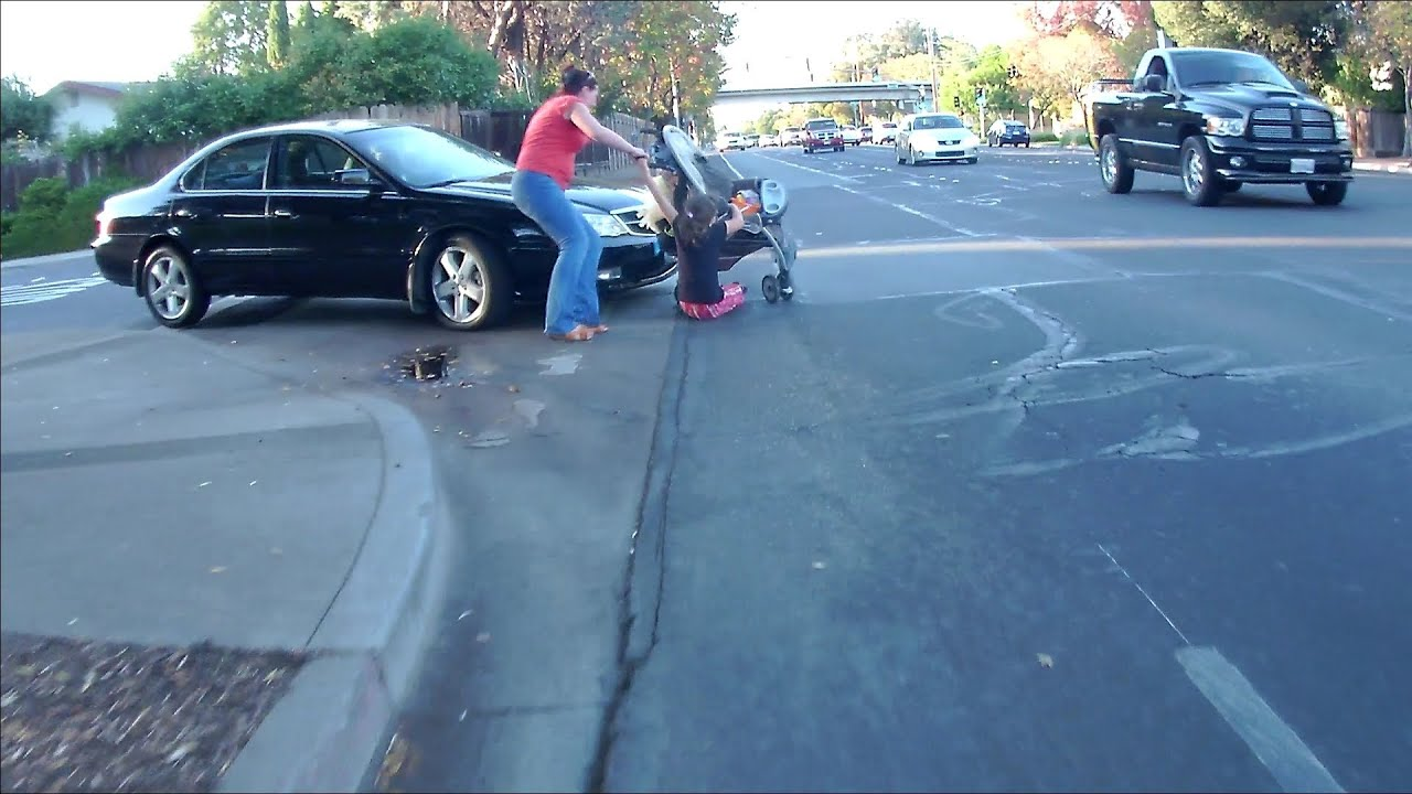 Girl On Phone Gets Hit By Car