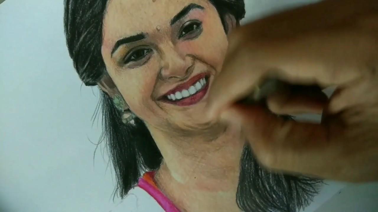 Keerthi suresh colour pencil drawing