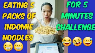 I CHALLENGE MYSELF TO EAT 5 INDOMIE NOODLES IN 5 MINUTES//FOOD CHALLENGE
