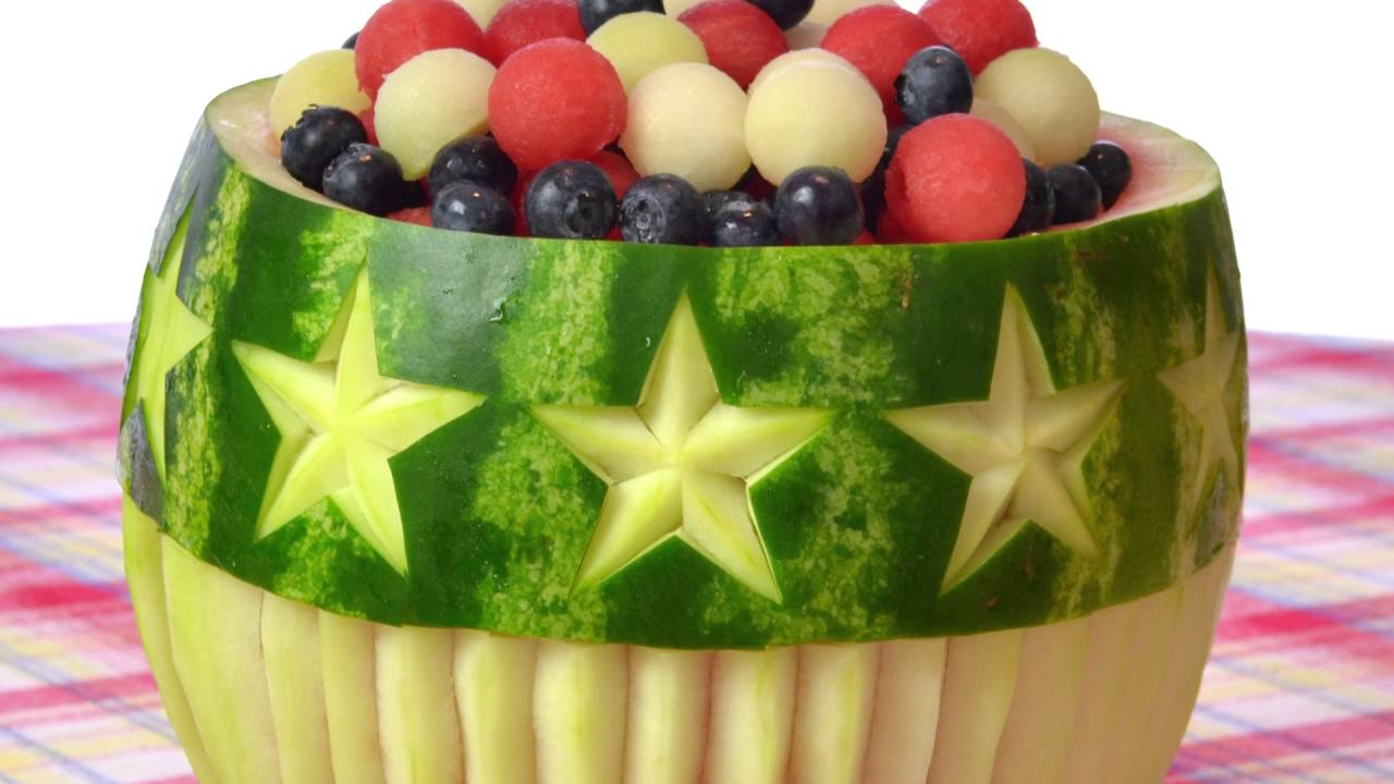 Stars and Stripes Watermelon Bowl Ideas great for 4th of July - YouTube