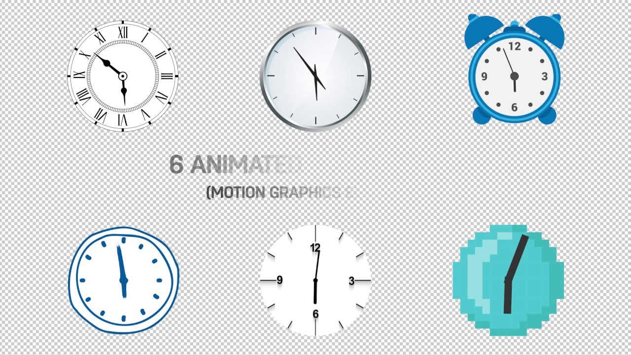 6 Animated Clocks Pack - Free Motion Graphics Template preview - YouTube