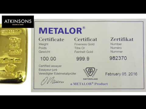 Metalor 100g Gold Bars