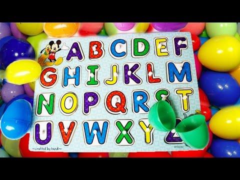 Learning ABC Letter Alphabet Phonics Disney ABC Puzzle and Surprise EGGS