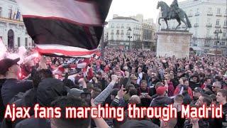 Ajax fans marching through Madrid