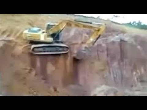heavy equipment accidents caught on tape, amazing excavator