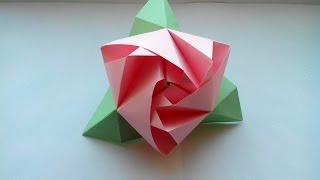 Цветы оригами - красивая роза из бумаги своими руками(Бумага: цветная бумага, зеленая и розовая, 80г/м²; Пропорции: квадрат (3 розовых + 3 зеленых = 6 штук); Габариты:..., 2014-04-20T08:16:32.000Z)