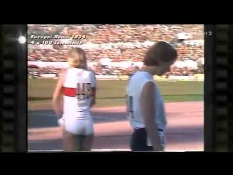 Powerful East German girls break World Record in sprint 4 × 100 metres relay. 1974 Euro Champs.