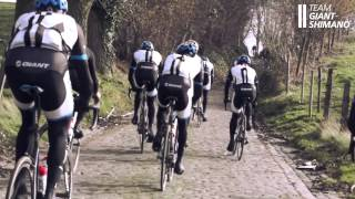 Team Giant-Shimano equipment testing on the cobbles