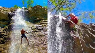 He's Falling Off the WATERFALL! Rappelling Water Adventure!