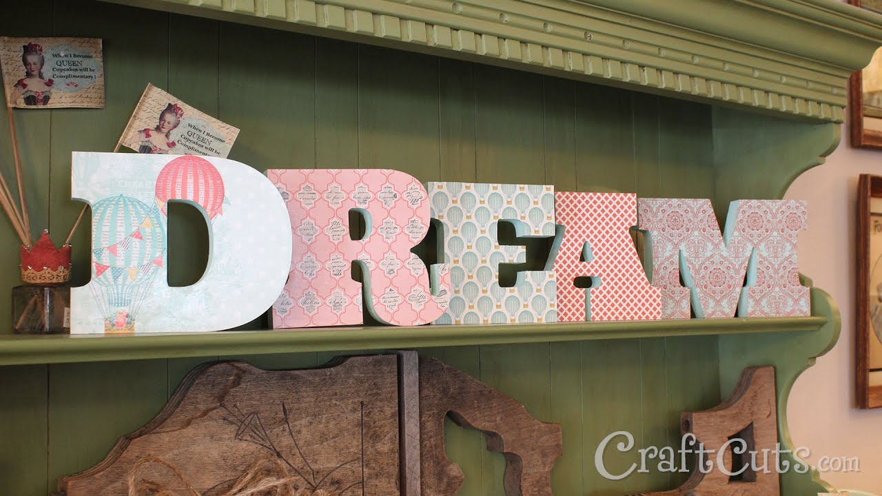 diy how to decorate wood letters with paper
