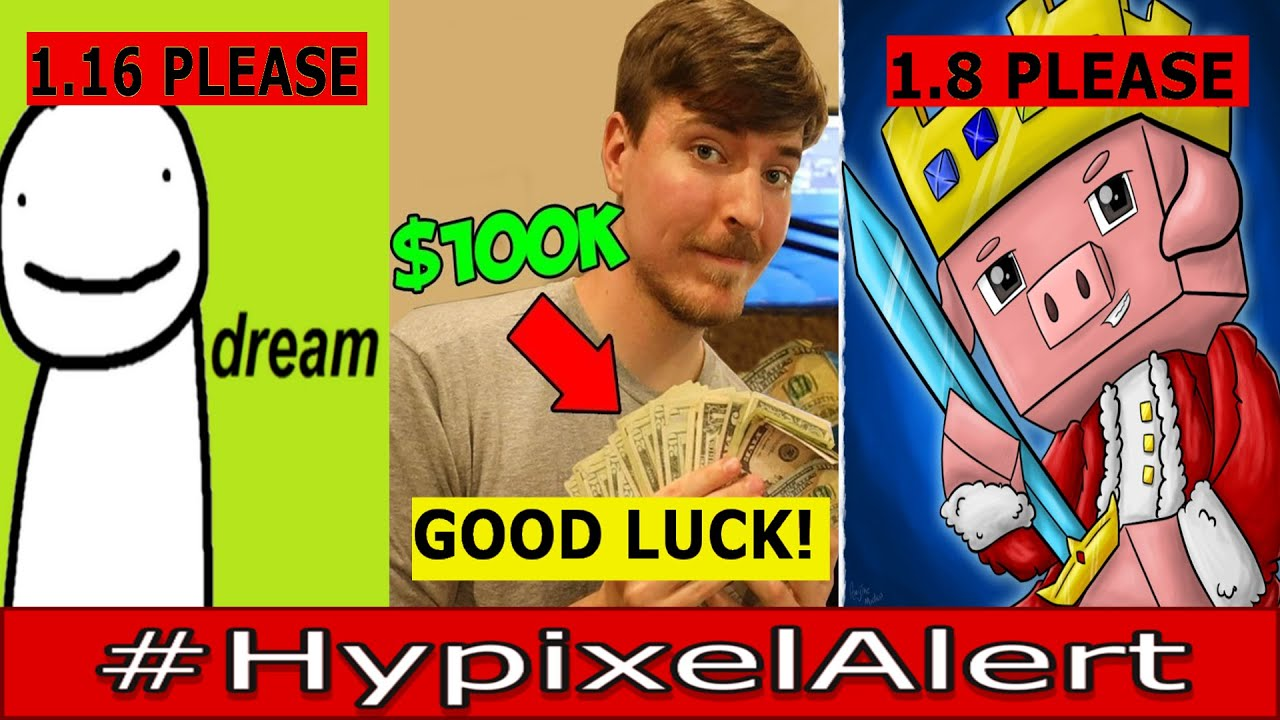 MrBeast CHALLENGES Technoblade & Dream for $100,000! #HypixelAlert YT Rank UNFAIR? ft. Zyphon
