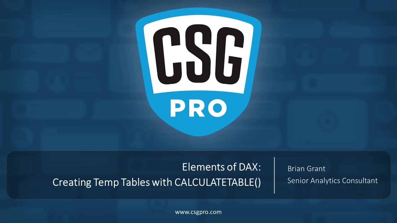 Elements of DAX 06-16 Creating Temp Tables with CALCULATETABLE()
