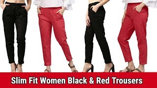 flipkart Slim Fit Women Black amp Red Trousers SUMMER SPECIAL PALAZZO PANT Culottes Trouser