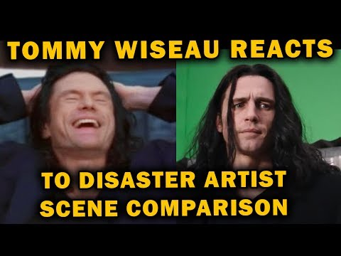 Tommy Wiseau reacts to Disaster Artist and The Room scene comparison