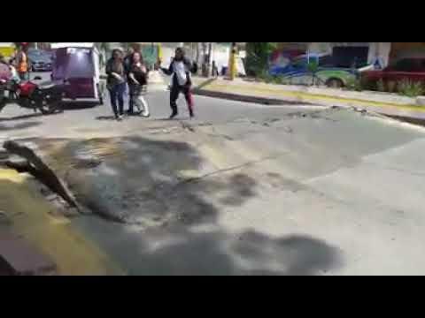 video muestra como el asfalto se levanto durante el terremoto en mexico