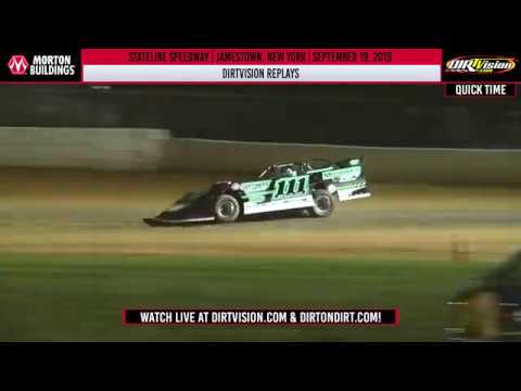 DIRTVision Replays from Stateline Speedway in Jamestown, New York on September 19th, 2019 - World of Outlaws Morton Buildings Late Models. - dirt track racing video image