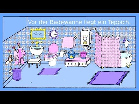deutsch lernen das badezimmer dativ pr positionen german for children beginners youtube. Black Bedroom Furniture Sets. Home Design Ideas