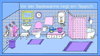 Deutsch lernen: Das Badezimmer - Dativ + Präpositionen - German lesson for beginners