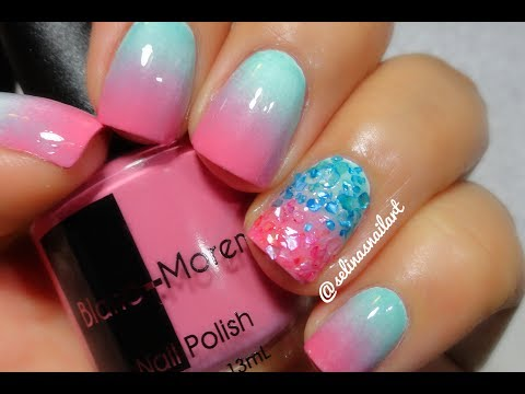 Cotton Candy Gradient & Crushed Shell Nail Art Tutorial - Cotton Candy Gradient & Crushed Shell Nail Art Tutorial - YouTube