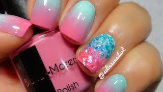 Cotton Candy Gradient & Crushed Shell Nail Art Tutorial