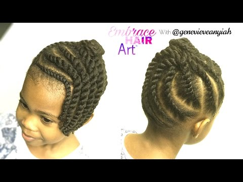 Natural Hair Kids Easy Two Strand Flat Twist Updo Youtube