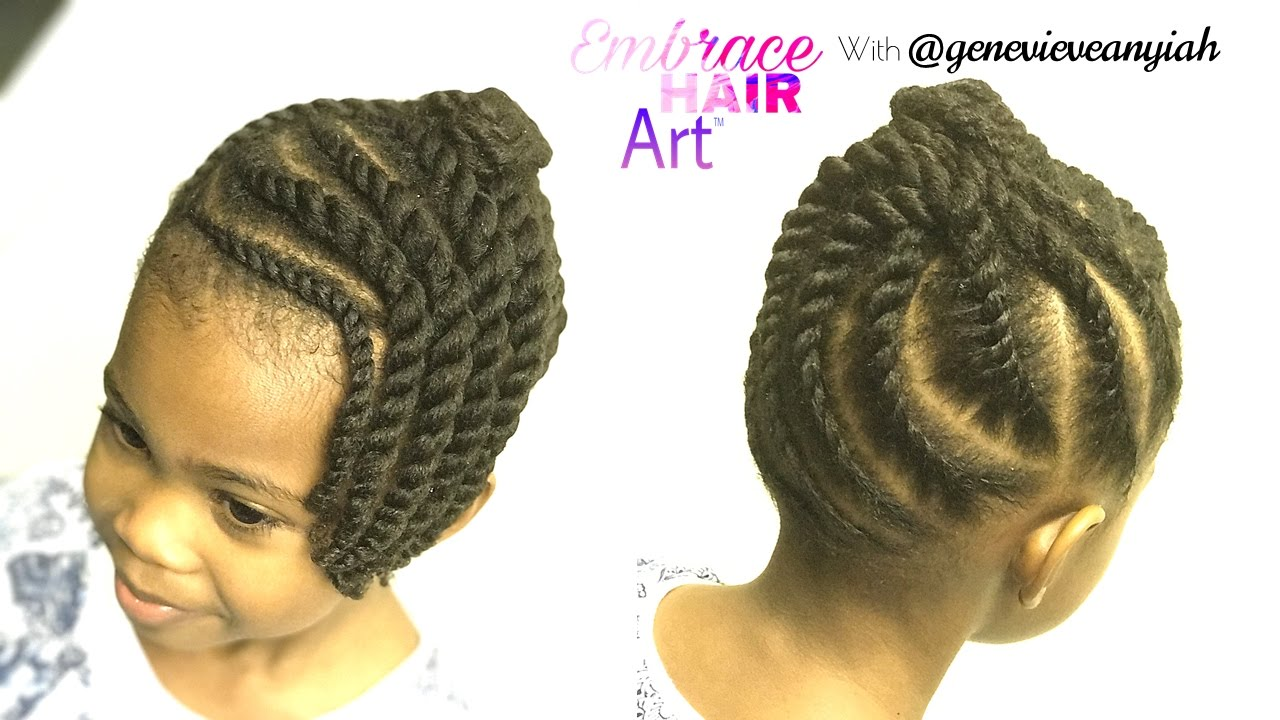 natural hair kids easy two strand flat twist updo