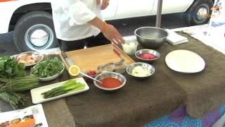 Asparagus, Farm Egg & Arugula Salad w/ Cold Poached Salmon