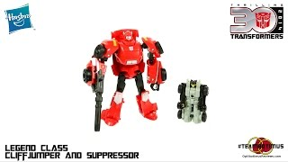 video review of the transformers generations legend class cliffjumper and suppressor