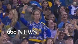 Warriors Dancing Lady in Ugly Sweater Has Serious Moves