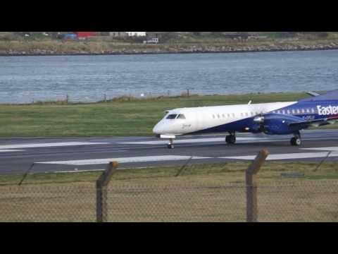 Headwind 42 knots, SAAB 2000 Turboprop Eastern Airways landing at Sumburgh Airport, Shetland