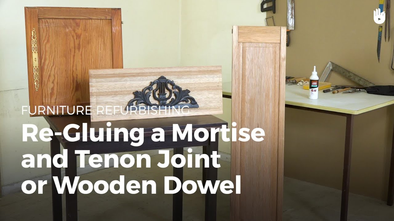 Re gluing a mortise and tenon joint or wooden dowel furniture restoration