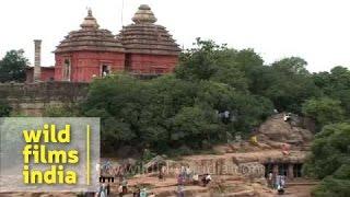 Digambar Jain Temple as seen from Udayagiri and Khandagiri Caves in Odisha
