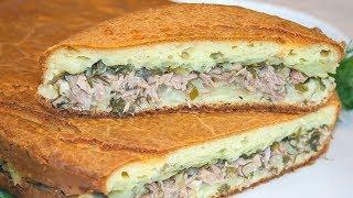 Заливной пирог с рыбой и картофелем, рецепт вкусного теста на сметане