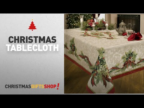 Top Christmas Tablecloth Ideas: Benson Mills Christmas Ribbons Engineered Printed Fabric Tablecloth,