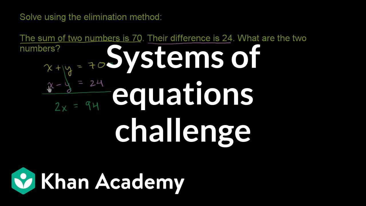 Systems of equations with elimination: Sum/difference of