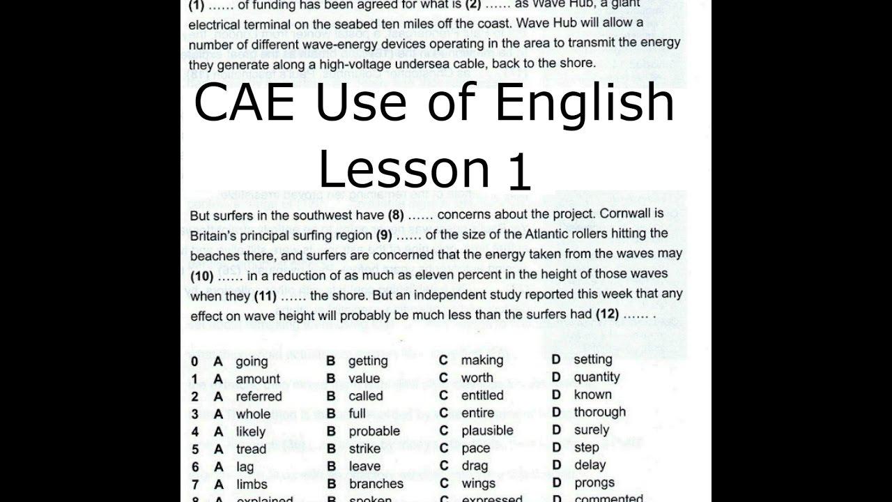 English In Italian: CAE Use Of English LESSON 1