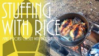 ローストチキンに米を詰める Roast Chicken With Rice Stuffing.