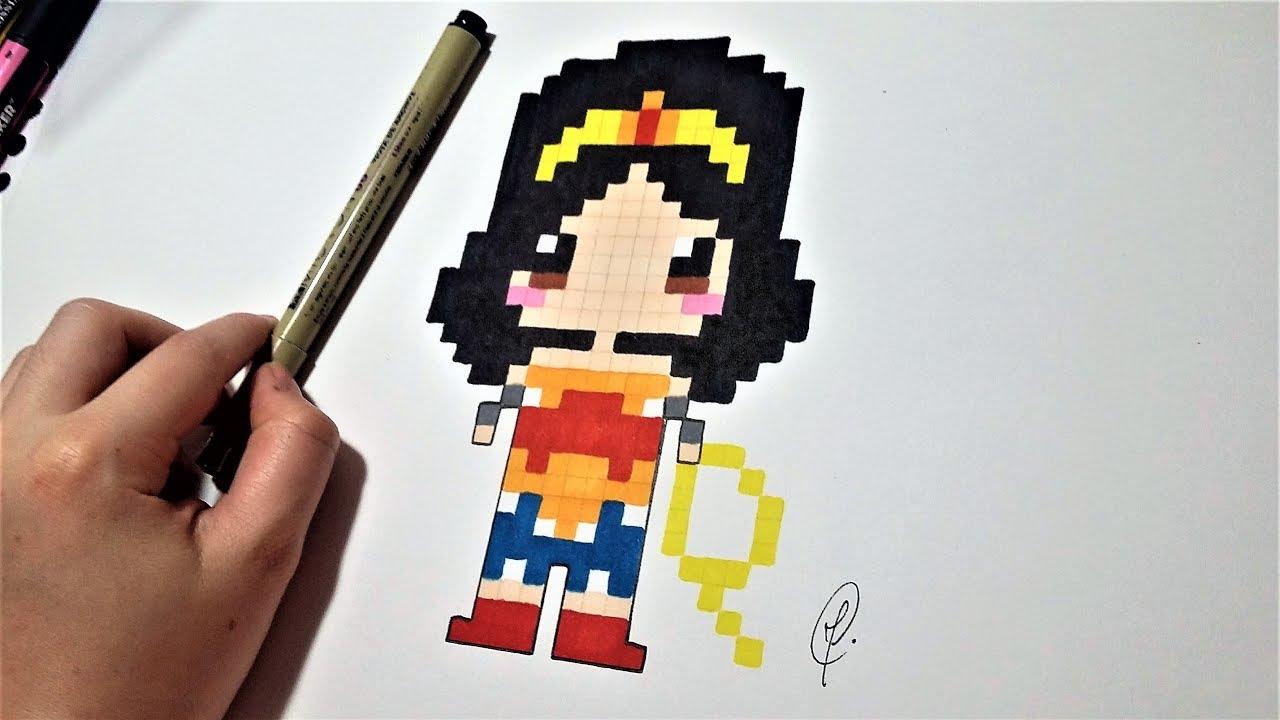 Dessin Wonder Woman Pixel Art Facile Youtube
