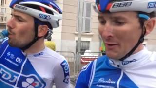 Les premières réactions d'Olivier Le Gac et Mickael Delage à l'arrivée finale de ce Paris-Nice !