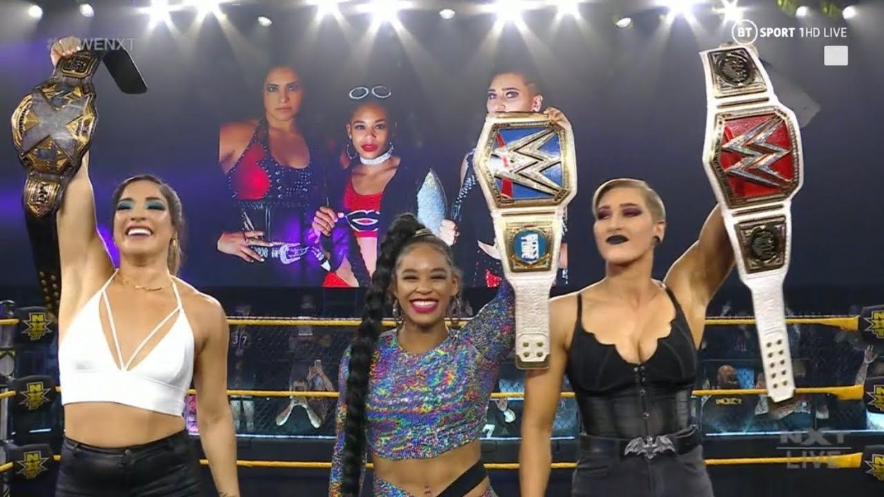 Raquel Gonzalez & Rhea Ripley And Bianca Belair Celebrate | Franky Monet Debut | WWE NXT Highlights - YouTube