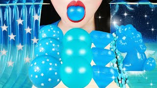 ASMR MOST POPULAR BLUE FOOD: GALAXY JELLY NOODLES, UNICORN JELLO, NERDS ROPE, SHEET, EARTH GUMMI 먹방