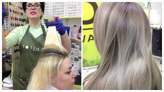Окрашивание Dim-Out || Затемнение корней у блондинок // REVERSE BALAYAGE TECHNIQUE