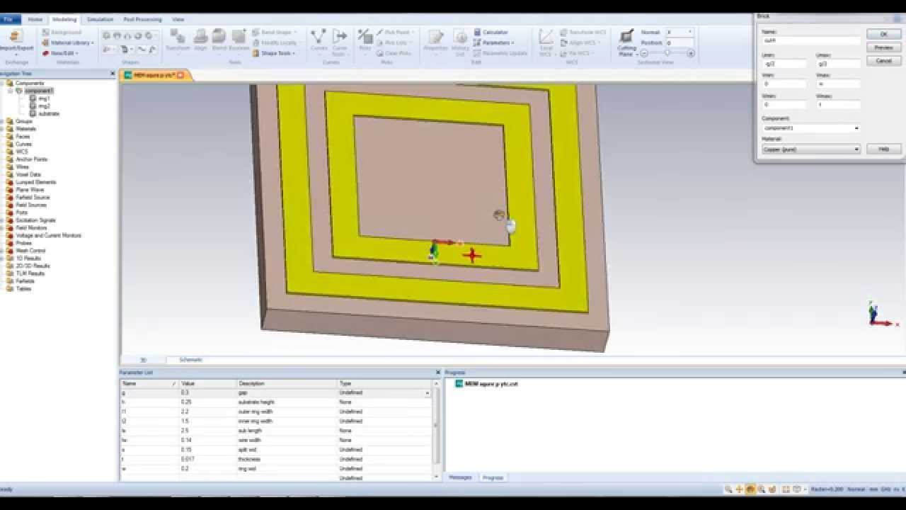 Metamaterial Unit Cell Square Srr Design Using Cst And Hfss Part 1 Youtube