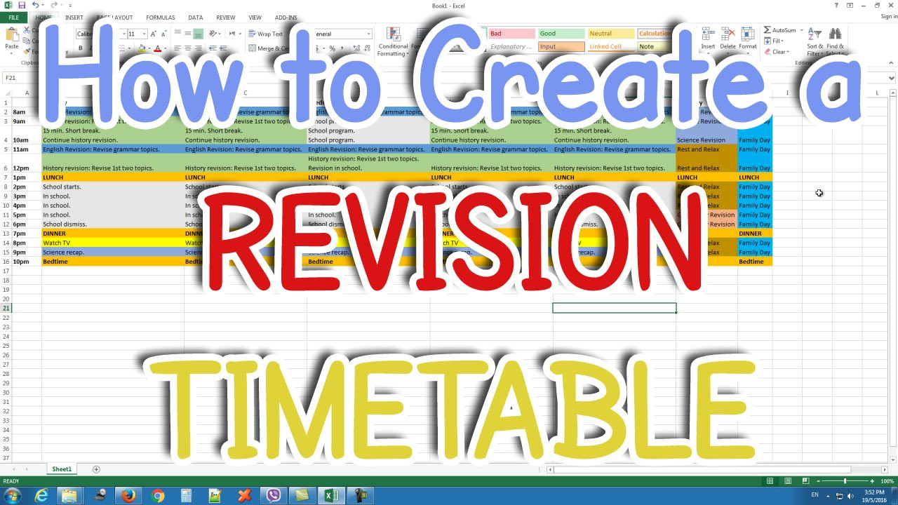 How to Create a Revision Timetable Study Timetable YouTube