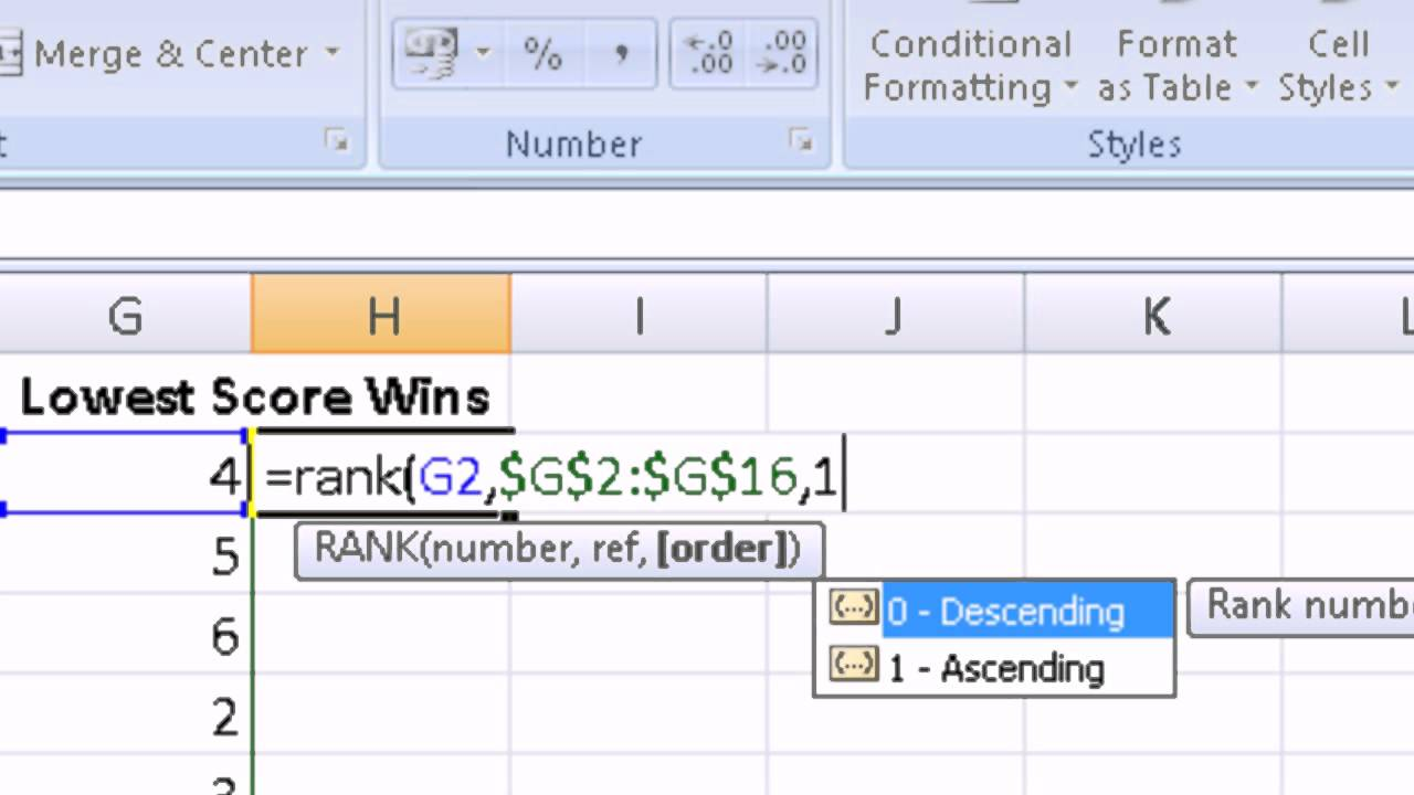 How to Create a Ranking Order in Excel - YouTube