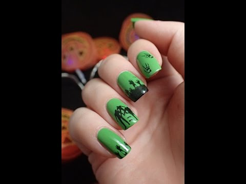 Nail Art | Halloween zombie water stickers