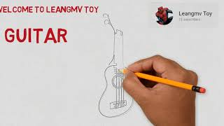 Drawing Guitar, how to draw guitar, Coloring page for kids