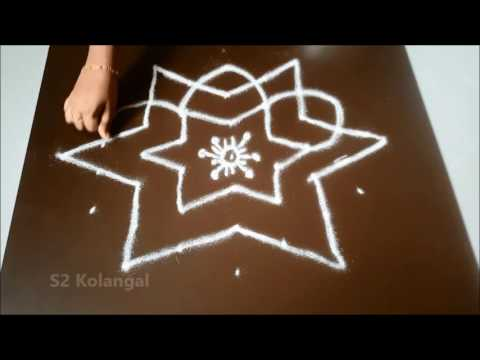 Simple Kolam With 7 To 4 Interlaced Dots Muggulu Designs Easy